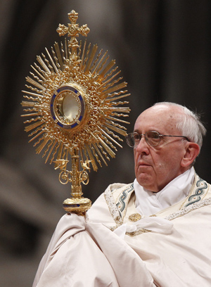 Pope leads Benediction after Eucharistic adoration in St. Peter's Basilica at Vatican